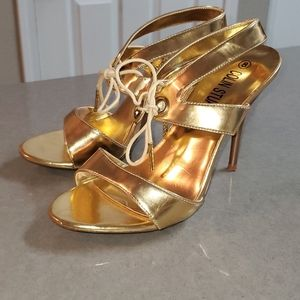 Strappy Gold Heels